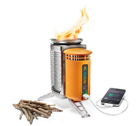 BioLite Wood Burning Campstove charge your phone with fire